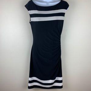 Ralph Lauren Black White Bodycon Ruched Dress # 6
